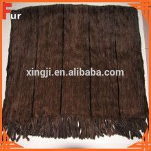 Real Mink Throw Mink Blanket Natural Color Knitted Style