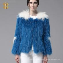 Подлинная енота меховые трикотажные зимние пальто женщин 2015