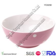 Bol en céramique rose avec blanc DOT pour gros