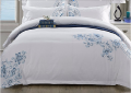 2016 luxury 100% cotton white hotel bed sheet sets jacquard embroidery bedding sets