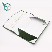 Cartón plegable de color verde dorado oscuro logo estampado caja plegable regalo