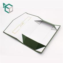 Logo pliable vert foncé doré logo stamping boîte pliable de cadeau
