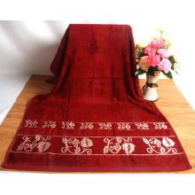 Serviettes de bain en bambou de couleur unie avec bordure jacquard