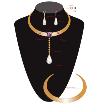 Luxury Golden Choker Pearl Pendant Necklace