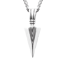 Vintage Style Steel Drop Shipping Triangle Jewelry Accessories Silver Arrow Pendant Necklace