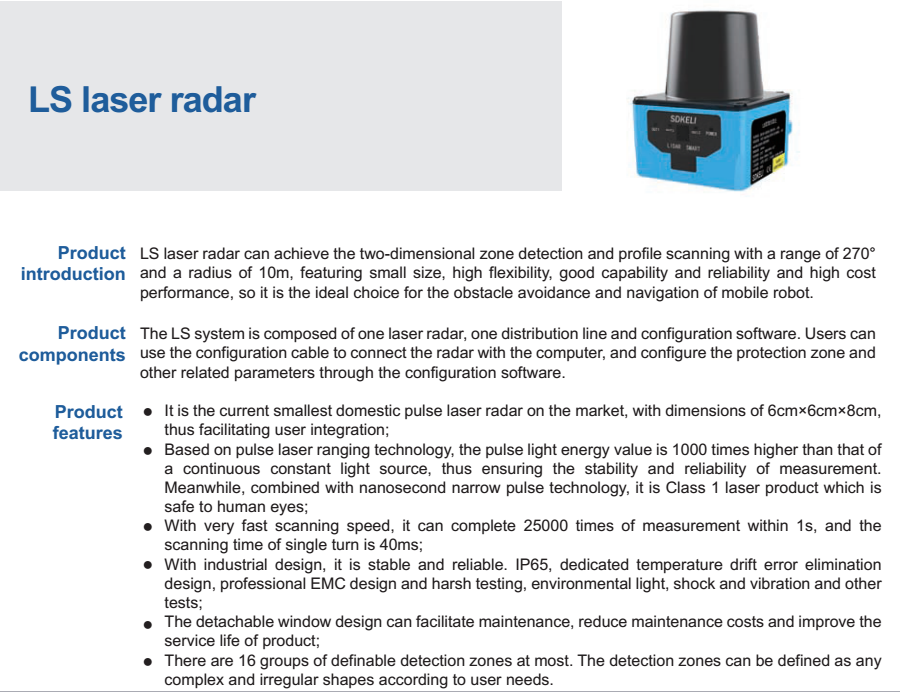 LS laser scanner lidar introduction, components and feature