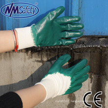 NMSAFETY nbr work gloves anti oil nitrile gloves interlock liner 3/4 coated light duty nitrile work gloves