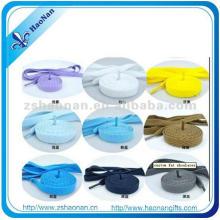 Cordones de zapato al por mayor del material del poliéster para los zapatos del fútbol (HN-SL-0018)