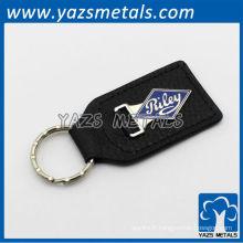 Porte-clés en cuir noir personnalisé
