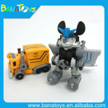 Electric car transform robot toy with light