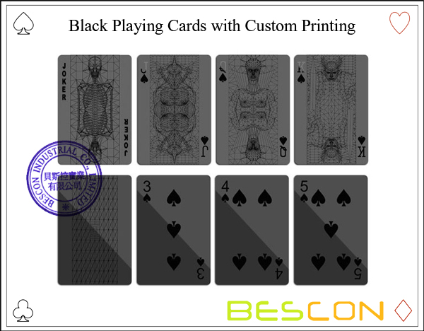 Black Playing Cards with Custom Printing