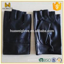 Summer/Autumn Mens 100% Top Sheepskin Half Finger LEATHER Driver Gloves