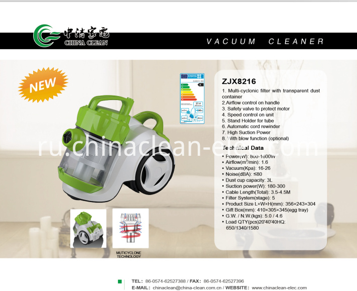 High Cleaning Efficiency Vacuum Cleaners