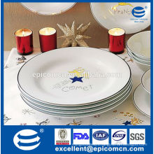 2015 hot products silver rim with comet decor porcelain plates for christmas