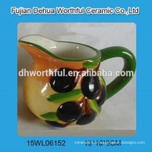 Cruche à lait en céramique promotionnelle avec figurine d'olive