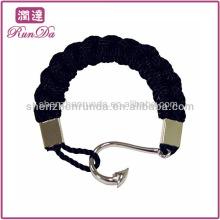 Großhandel Edelstahl Männer Fischhaken Armband Baumwolle oder Nylon Seil Armbänder mit Anker Armband Schmuck