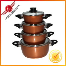 4 PCS Glass Cover Colored Aluminum Pot