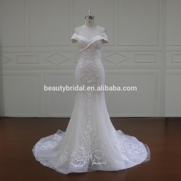 Wholesale Latest Gown Design Pictures Of Mermaid Tail Off Shoulder Neckline See Through Wedding Dress