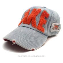 Tejido de vaquero trapo con logotipo cepillado y gorra de béisbol de metal backle