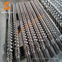 Baril et machines en plastique bimétalliques conique double vis