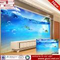Mundo subacuático 3D que imprime el azulejo de cerámica de la pared para vivir el fondo de la TV