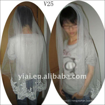 V25 Real Sample short Beaded One Layer Lace wedding Veil 2012