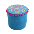 India and Pakistan style blue circular cylinder stool