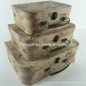 Custom impressão Cardboard Suitcase Cosméticos Box / Atacado Paper Suitcase Gift Box