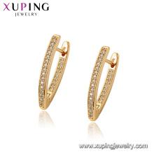 97069 Xuping Hoop 18 Karat Gold Farbe Luxus synthetische CZ Frauen Ohrringe