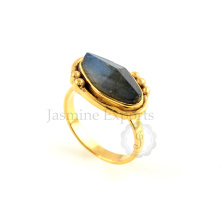 925 Sterling Silver Ring Wholesale Labradorite Silver Ring For Birthday Gift