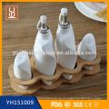 Nuevo diseño de cerámica conjunto completo de especias pimienta sacudidor botellas de vinagre de aceite