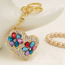2015 regalos de moda y llavero de encargo del rhinestone del corazón del oro del keychain del metal de los artes para las mujeres