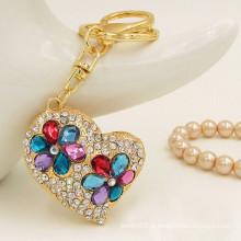 2015 presentes & ofícios na moda keychain feito sob encomenda do metal keychain do cristal de rocha do coração do ouro para mulheres