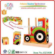 EZ1038 la granja colorida de la impresión de la transferencia de calor 9pcs fijó los bloques de madera 3D