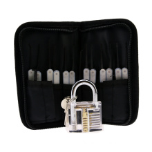 Transparent Practice Padlock with Canvas Bag 15PCS Lockpicking Tools White Silicon Case (Combo 6)