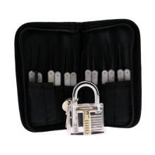 Cadeado de Prática Transparente com Saco de Lona 15PCS Lockpicking Tools White Silicon Case (Combo 6)