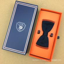 Оптом изготовленные на заказ бумажные Упаковывая картонные коробки деревянные галстук с Запонками