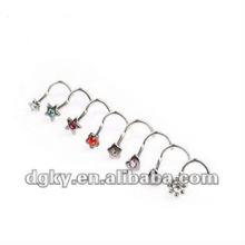 Venda quente diamante nariz pin stud piercing jóias nariz anel corpo jóias