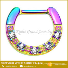 Toq Quality Titanium Rainbow Plated CZ Jeweled Septum Piercing Ring