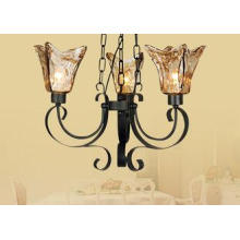 64cm Height Big Retro Wrought Iron Amber Glass Chandelier L