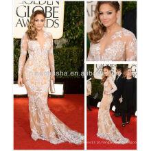 Hot 2014 Jennifer Lopez Red Carpet Celebridade Vestido de noite Sheer Long Sleeve White Applique Champagne Tulle Long Gowns NB023