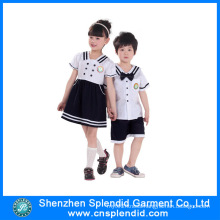 Custom Summer Short Sleeve White and Black Kindergarten Uniform