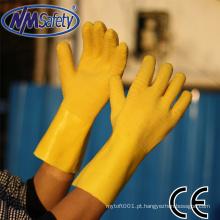 NMSAFETY forro de jersey de algodão luvas de látex amarelo totalmente revestido