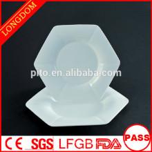 2015 neues Design weißes Porzellan einzigartige Teller Platte Obstteller
