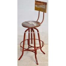 Tabouret de bar vintage industriel Recyclé en bois rouge Couleur contrastée