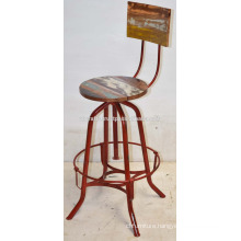 Vintage Industrial Bar Stool Recycled Wooden Red Disstressed color