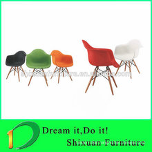 elegant plastic seat wood leg nice chair