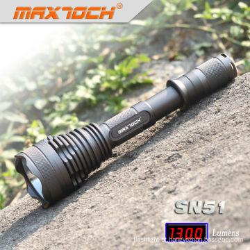 Lanterna elétrica tática militar de Maxtoch SN51 SST50 1300 lúmens 2 * 18650