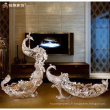 Fabricant d'artisanat de décoration intérieure ornements en résine personnalisée animal phoenix plateau de fruits plaque de fruits
