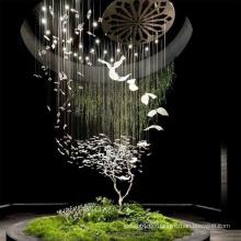 Kleine Vogel LED-Pendelleuchte aus Edelstahl